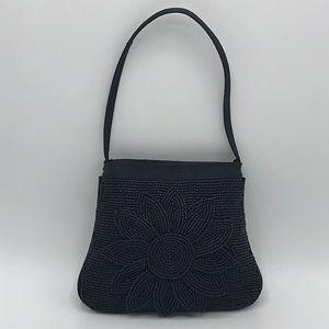 Daisy Beaded Black Mini Crossbody Handbag